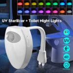 Оригинал              УФ стерилизатор туалет Лампа дезинфекция убить бактериальный свет 16 цветов с изменением движения Активированное сиденье для унитаза со с