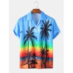 Оригинал              Mens Gradient Пляжный Рубашки с коротким рукавом с отложным воротником и праздничным принтом