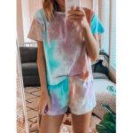 Оригинал              Tie Dye Print Loungewear Комплект Dradient из двух частей пижамы с короткими рукавами