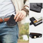 Оригинал              Мужчины Натуральная Кожа RFID 8 слотов для карт Двойной кошелек Кошелек Монета на молнии Сумка