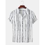 Оригинал              Мужские Винтаж полосатые практичные карманные дышащие повседневные рубашки