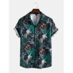 Оригинал              Mens Holiday Butterfly Лист Рубашки с воротником с коротким рукавом с принтом