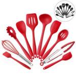Оригинал              10PCS Силиконовый Кухонная утварь Кухонная утварь Набор посуды Кулинария Набор с антипригарным набором посуды Кастрюли Совки