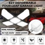 Оригинал              40 Вт E27 LED Гаражная лампа Четырехлистный деформируемый высокий отсек Лампа Склад на потолке Мастерская промышленного освещения