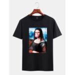Оригинал              Mens Funny Kuso Mona Lisa License с коротким рукавом черные повседневные футболки
