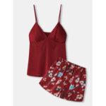 Оригинал              Женские ремни с цветочным принтом Adjustablei Smooth Home Пижамные комплекты