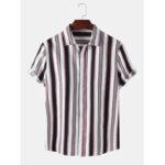 Оригинал              Рубашки мужские в полоску с отложным воротником и коротким рукавом