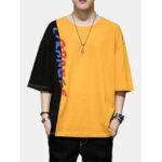 Оригинал              Мужская мода Цвет блока 100% хлопок Экипаж Шея буквы повседневные футболки