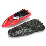 Оригинал              RH702 2.4G RC Лодка 2 в 1 Имитация крокодила с двумя двигателями RTR Модель игрушки