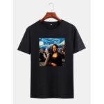 Оригинал              Мужские прикольные футболки Kuso Mona Lisa и Van Gogh Масло с принтом лицензий с коротким рукавом