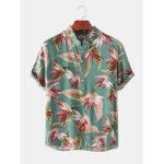 Оригинал              Повседневные рубашки Henley с короткими рукавами и принтом Mens Holiday Strelitzia