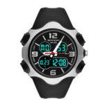 Оригинал              SANDA 799 Fashion 12/24 часов Секундомер Синхронизация Luminous Дисплей Водонепроницаемы Мужчины Dual Дисплей Цифровые часы