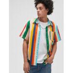Оригинал              Мужские Colorful нашивки из 100% хлопка, дышащие карманные повседневные рубашки