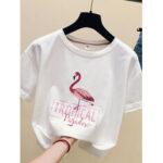Оригинал              Animal Letter Print Женское Повседневная футболка с коротким рукавом