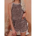Оригинал              Женская безрукавка с леопардовым принтом Шея Свободная пижама