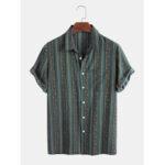 Оригинал              Мужские Винтаж Colorful Striola Дизайн дышащие рубашки с коротким рукавом повседневные