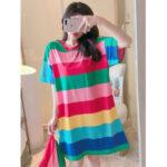 Оригинал              Женская Colorful Ночная рубашка в полоску с короткими рукавами, удобная пижама