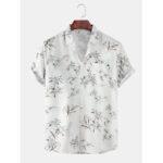 Оригинал              Mens Кокос Trees Light Печатный отложной воротник с карманами на Гавайях Повседневные рубашки с коротким рукавом