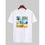 Оригинал              Мужская дизайнер Ван Гог Знаменитая картина лицензии с коротким рукавом белые футболки