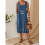 Оригинал              Цветочная вышивка Daily Casual Платье Женское Домашнее садоводство Платье