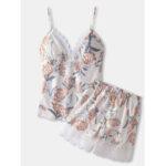 Оригинал              Женская цветочная печать с кружевной отделкой Home Smooth Vest Пижамный комплект