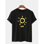Оригинал              Мужская футболка с изображением смешного солнца Шея Повседневные футболки