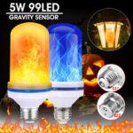 Оригинал              E27 / B22 Шарики 99LED 5W Super Bright 4 режима гравитации Датчик Лампа с эффектом пламени Лампа Домашний декор
