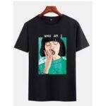 Оригинал              Mens Lady Масло Черные футболки с коротким рукавом с принтом