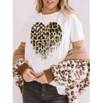 Оригинал              Белые повседневные повседневные футболки с коротким рукавом с леопардовым принтом