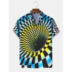 Оригинал              Мужские дизайнерские 3D визуальные клетчатые рубашки с цветными блоками с короткими рукавами