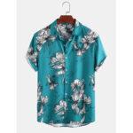 Оригинал              Мужские забавные повседневные рубашки с коротким рукавом с цветочным принтом