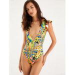 Оригинал              Женская Colorful Листья с принтом и оборками V-образным вырезом Купальный костюм Спинки One шт.
