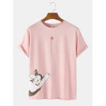 Оригинал              Повседневная футболка с длинным рукавом с длинным рукавом с короткими рукавами Кот Шея