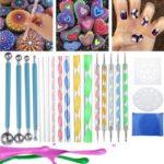 Оригинал              20шт Mandala Dotting Набор Набор Наскальная живопись Набор Ногти Art Ручка Краска Трафарет
