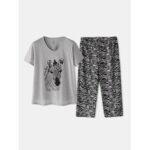 Оригинал              Плюс размер Женское Домашний хлопок Zebra с принтом V-образным вырезом с коротким рукавом Пижамный комплект