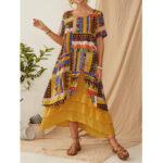 Оригинал              Этнический принт с короткими рукавами Винтаж макси Платье для Женское
