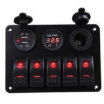 Оригинал              5 Gang Dual USB 12V On-Off LED Панель переключателей Вольтметр Авто Лодка Морской грузовик RV ON-OFF