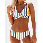 Оригинал              Плюс размер Женское Многоцветный полосатый галстук спереди Бикини Спинки Пляжная одежда