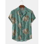 Оригинал              Повседневная Винтаж Мужская рубашка с коротким рукавом с цветочным принтом Revere Collar