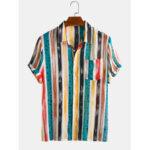 Оригинал              Мужские хлопковые Colorful полосатые с принтом в горошек с короткими рукавами Holiday Casual Рубашка
