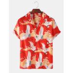 Оригинал              Мужские рубашки с восточным принтом Revere с коротким рукавом и этническими повседневными рубашками