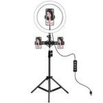 Оригинал              PULUZ PKT3057B 11,8 дюйма 30см LED Кольцевая подсветка для видеоблога Прямая трансляция видео Трехуровневая регулировка Заполняющий свет с 110см Штат
