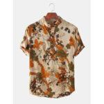 Оригинал              Мужская повседневная рубашка с цветочным принтом и воротником с короткими рукавами