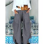 Оригинал              Широкие ноги Женское эластичные талии карманы чистого цвета Брюки