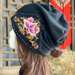 Оригинал              Женская вышивка Винтаж Шапочка в цветочном этническом стиле Шапка