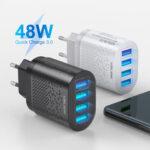 Оригинал              USLION 48W USB зарядное устройство 4-портовый USB QC 3.0 Travel Wall Charger Adapter Быстрая зарядка для iPhone 11 Pro Макс SE 2020 Xiaomi MI10 Redmi Note 9S S20 + 5G