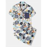 Оригинал              Женский цветочный принт с коротким рукавом Revere Collar Home Повседневный пижамный комплект с коротким рукавом