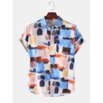 Оригинал              Mens Designer Colorful Рубашки с воротником с короткими рукавами и акварельным принтом