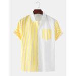 Оригинал              Мужские рубашки в вертикальную полоску с белым воротником и короткими рукавами Повседневные рубашки
