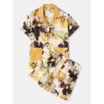 Оригинал              Гладкий пижамный комплект с цветочным принтом Revere Collar